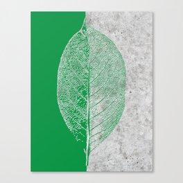 Natural Outlines - Leaf Green & Concrete #774 Canvas Print