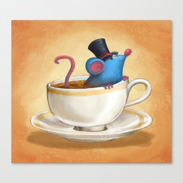 Mr. Bluemouse in a Teacup Canvas Print
