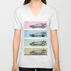 Back to the Future - Delorean x 4 Unisex V-Neck
