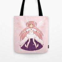 madoka Tote Bags featuring Goddess Madoka by Nozubozu