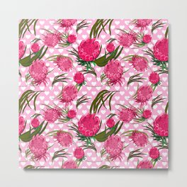 Pink Protea Print - Australian Native Floral Pattern - Gorgeous King Protea Metal Print