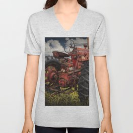 Abandoned Old Farmall Tractor in a Grassy Field on a Farm Unisex V-Neck
