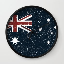 Old scratched Australian flag Wall Clock
