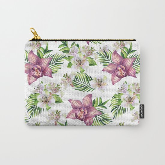 Orchids. White pattern Carry-All Pouch