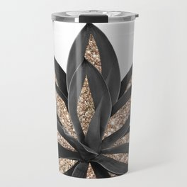 Gray Black Agave with Gold Glitter #2 #shiny #tropical #decor #art #society6 Travel Mug