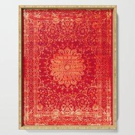 Geometric Orange Oriental Vintage Traditional Moroccan Mandala Serving Tray