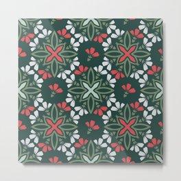 Decorative Floral Pattern 29 - Te Papa Green, Camouflage Green, Roman Red, Iron Gray Metal Print
