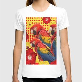 DECORATIVE TROPICAL RED MACAWS & HIBISCUS  FLOWERS T-shirt