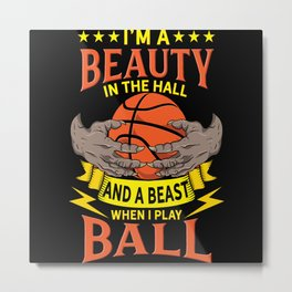 Basketball Beauty In The Hall Motif Metal Print
