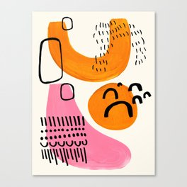 Vintage Abstract Mid Century Modern Playful Pink Yellow Ochre Organic Shapes Canvas Print