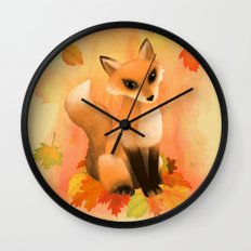 Fall Fox Wall Clock