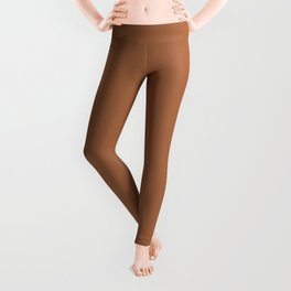Rusty Mid-tone Brown Solid Color Leggings