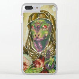 Blessed Reptilian Virgin and Child Clear iPhone Case