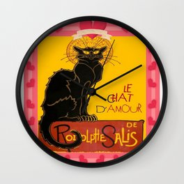 Le Chat Noir D'Amour Heart And Cherub Border Wall Clock