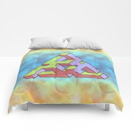 Triangle Of Abstract Colorful Comforters