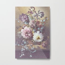 Jeans, bling and vintage flowers Metal Print