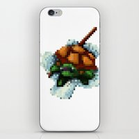 ninja turtle iPhone & iPod Skins featuring Baby Ninja Turtle - PixelArt by Tokka Train