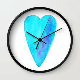 Turquoise Heart Full Of Love Watercolor Wall Clock