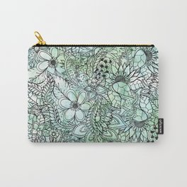 Spring Turquoise green floral hand drawn illustration pattern grey watercolor Carry-All Pouch