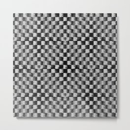 Edgy Checker (in shades of grey) Metal Print