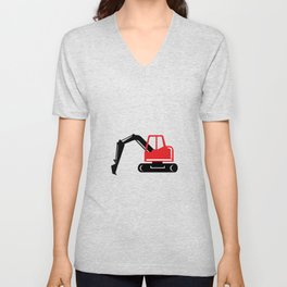 Mechanical Excavator Digger Retro Icon Unisex V-Neck