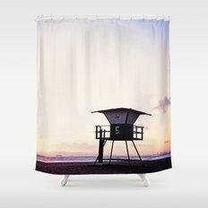 Vintage Lifeguard Tower Silhouette at Sunset, Sunset Beach, California Shower Curtain