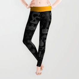Grey and Black Science Pattern Leggings