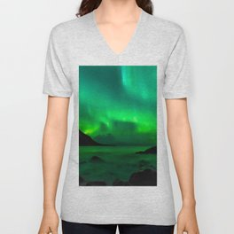 Northern Lights (Aurora Borealis) 5. Unisex V-Neck