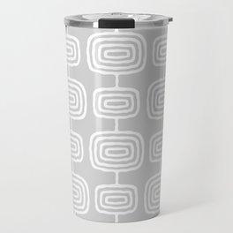 Mid Century Modern Atomic Rings Pattern 731 Gray Travel Mug
