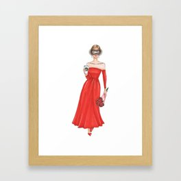 Red dress girl with coffee Framed Art Print