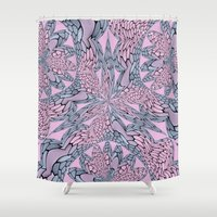pantone Shower Curtains featuring Flowery Texture - Pantone by Bella Mahri-PhotoArt By Tina