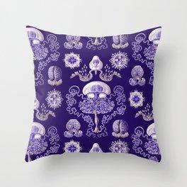 Ernst Haeckel - Purple Jellyfish Pattern Throw Pillow