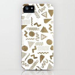 Retro abstract geometrical faux gold white 80'spattern iPhone Case