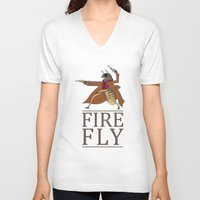 firefly V-neck T-shirts featuring Firefly by Evan Raynor