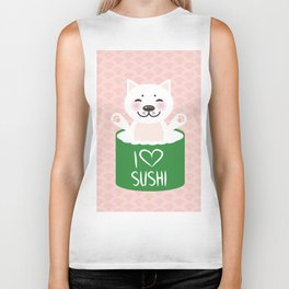 I love sushi. Kawaii funny sushi roll and white cute cat with pink cheeks, emoji. Pink background Biker Tank