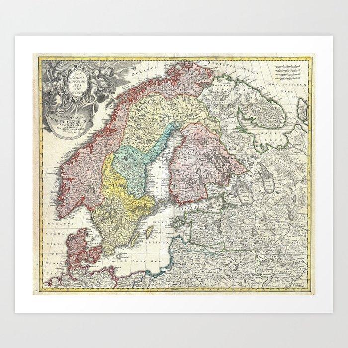 Map of Scandinavia, Norway, Sweden, Denmark and Finland Art Print by  fineearthprints
