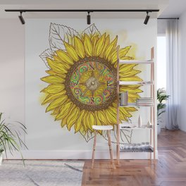 Sunflower Compass Wall Mural