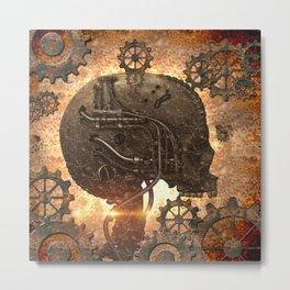 Steampunk, skull Metal Print