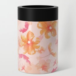 Pink Coral Floral Can Cooler