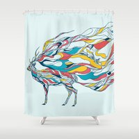 huebucket Shower Curtains featuring Hold Me Down by Huebucket