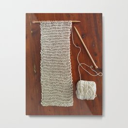 knitting,knit scarf, oatmeal color, natural color, craft, wood, Metal Print