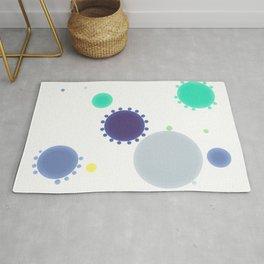 Minimalist Blue Teal Grey  Dots Rug