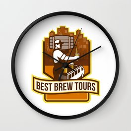 Bartender Pouring Beer Keg Cityscape Crest Retro Wall Clock