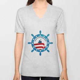 Columbus Ship steering wheel - Happy Columbus Day Unisex V-Neck