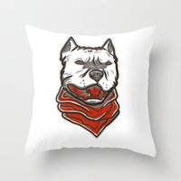 pitbull Throw Pillows featuring Pitbull by VentureDesign