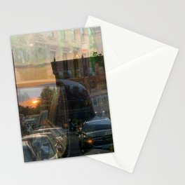 Double Exposure sunset in Park Slope Brooklyn Stationery Cards