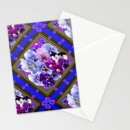 PURPLE & WHITE PANSY GARDEN IN BLUE Stationery Cards