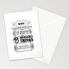 Alice in Wonderland Six Impossible Things Stationery Cards