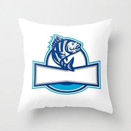 Sheepshead Fish Jumping Up Half Circle Retro Throw Pillow