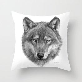 Wolf face G084 Throw Pillow